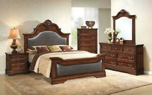 Bedroom Set with Leather Insert Head-Foot Board 8 pc - Antique Brown King / Antique Brown