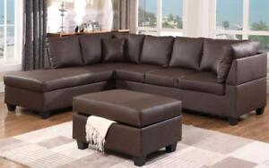 Leather Sectional Set with Chaise and Ottoman - Chocolate Chocolate