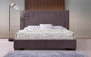 Platform Bed with Fabric - Grey King / Grey / Fabric