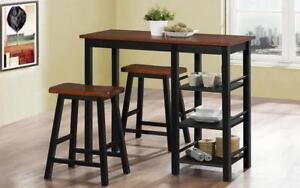 Pub Set with Stools - 3 pc - Dirty Oak | Black Dirty Oak | Black