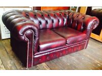 Two Seater Leather Chesterfield Sofa