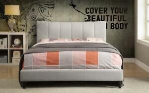 Platform Bed with Linen Style Fabric - Beige Queen / Beige / Linen Style Fabric