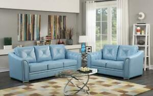 Sofa Set - 3 Piece - Blue Blue