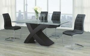 Kitchen Set with Glass Top - 7 pc - White | Black 7 pc Set / Espresso | Black