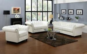 Sofa Set - 3 Piece - White White