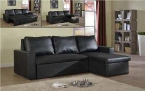 ***BLOWOUT SALE****SECTIONAL SOFABED WITH REVERSIBLE CHAISE (BLACK)**LOWEST PRICES
