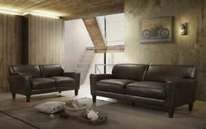 Sofa Set - 3 Piece - Brown 3 pc Set / Brown / Air Leather