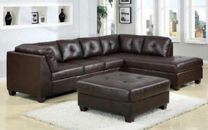 Leather Sectional Set with Left Side Or Right Side Chaise and Ottoman - Dark Brown Right Side Chaise / Dark Brown