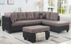 Fabric Sectional set with Chaise and Ottoman - Taupe | Black Black | Taupe / Right Side Chaise