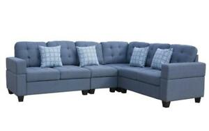 Fabric Sectional with Reversible Loveseat - Blue Blue