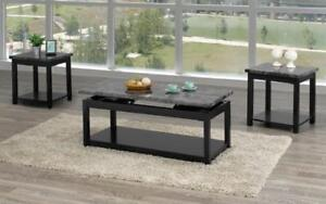 Coffee Table Set with Marble Lift Top - 3 pc - Black | Grey 3 pc Set / Black | Grey