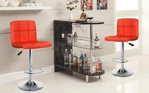 Bar Set with Stools - 3 pc - Espresso | Black | White | Red 3 pc Set / Red