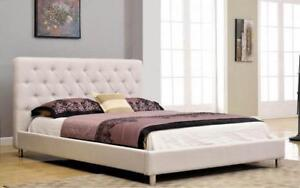 Platform Bed with Button-Tufted Fabric - Beige King / Beige / Linen Style Fabric