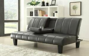 Leather Sofa Bed with Cup Holder - Grey Grey