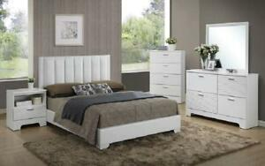 Bedroom Set with Leather Insert Head Board 8 pc - White King / White