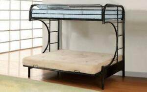 Futon Bunk Bed - Twin over Double with Metal - Black   White   Grey Black