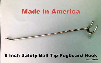 50 Pack Usa Made 8 Inch Metal Peg Hooks. For 18 To 14 Pegboard Or Slatwall