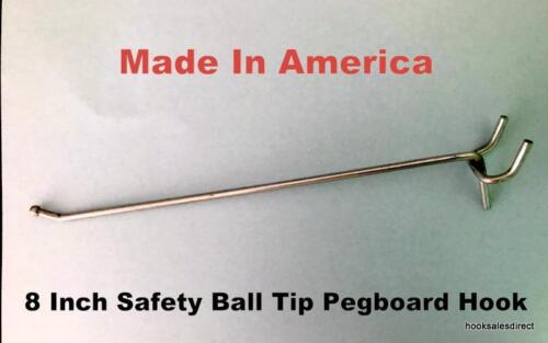 "(50 PACK) USA Made 8 Inch Metal Peg Hooks. For 1/8 to 1/4"" Pegboard or Slatwall"