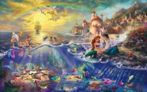 "The Little Mermaid - Thomas Kinkade Print 12"" X 18"" Framed"