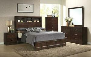 Bedroom Set with Bookcase Headboard 8 pc - Dark Walnut King / Dark Walnut