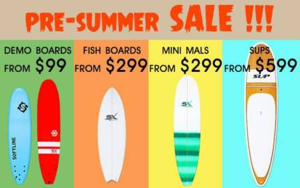 SALE! DEMO SOFT SURFBOARDS, EPOXY BOARDS, SUP PADDLE BOARDS