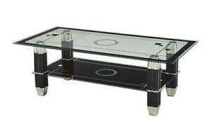 Coffee Table with Glass Top - Black Black