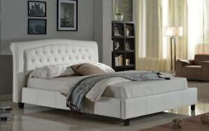 Platform Bed with Bonded Leather - White Double / White / Bonded Leather