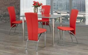 Kitchen Set with Glass Top - 5 pc - Black   White   Red 5 pc Set / Red