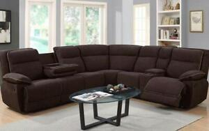 Recliner Corner Sectional with Fabric - Chocolate Chocolate