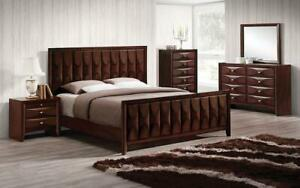 Bedroom Set with Vertical Convex Design 8 pc - Antique Oak King / Antique Oak