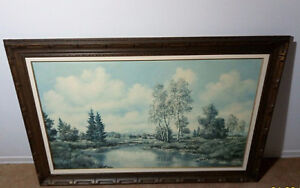 River And Trees Landscape Wooden Frame Picture