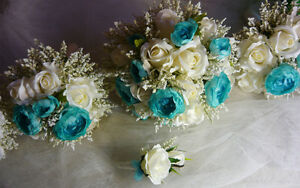 5 Piece Teal/Turquoise & White Wedding Bouquet Flower Package. London Ontario image 1