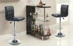 Bar Set with Stools - 3 pc - Espresso | Black | White | Red 3 pc Set / Black