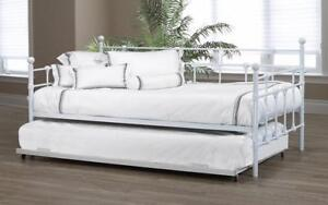 Day Bed with Metal and Twin Trundle - White Twin / White / Metal