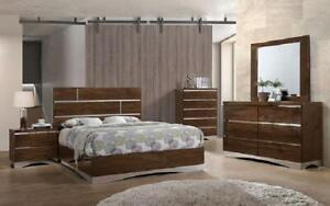 Bedroom Set with Mirror Accents High Gloss Head Board 8 pc - Brown King / Brown