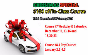 CHRISTMAS SPECIAL $100 OFF DRIVING SCHOOL IN-CLASS COURSE