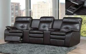 Recliner Theatre Sofa with Air Leather - Black Black