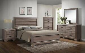Bedroom Set with Deep Lines Accented 8 pc - Brown Paper & Black King / Brown Paper & Black