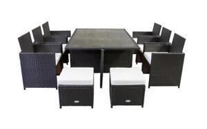 Outdoor Dining Set - 11 pc (Dark Brown & White) Dark Brown & White