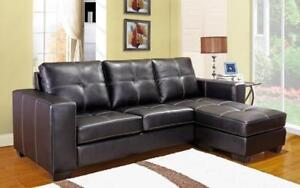 ***BLOWOUT SALE****SECTIONAL WITH REVERSIBLE CHAISE (BLACK)**LOWEST PRICES