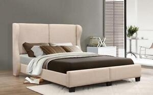 Platform Bed with Linen Style Fabric - Beige King / Beige / Linen Style Fabric