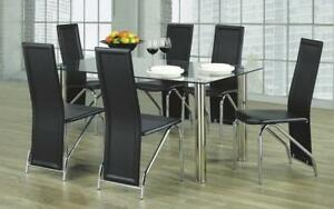 Kitchen Set with Glass Top - 7 pc - White | Black 7 pc Set - Solid Chair / Black