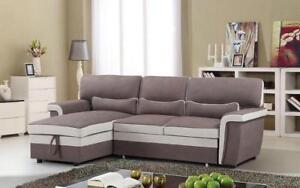 Elephant Skin Sectional Sofa Bed with Left Side Or Right Side Chaise - Brown   Beige Left Side Chase / Brown   Beige