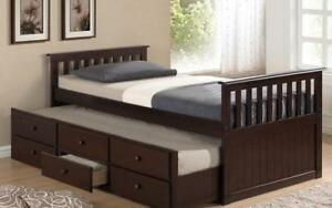 ***BLOWOUT SALE**** TRUNDLE BED WITH DRAWERS - ESPRESSO**LOWEST PRICES