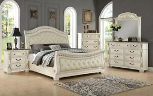 Sleigh Bedroom Set with Tufted Head-Foot Board 8 pc - Antique White King / Antique White