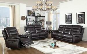 Recliner Set - 3 Piece - Air Leather [Dark Brown] 3 pc Set / Dark Brown