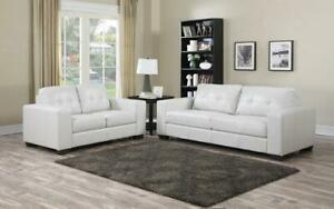 Sofa Set - 3 Piece - White 3 pc Set / White / Air Leather