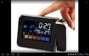Digital Weather Projection Snooze Alarm Clock Color Screen Calen