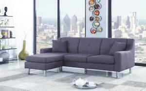 Linen Sectional with Reversible Chaise - Grey Grey