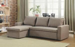 Linen Sectional Sofa Bed with Reversible Chaise - Brown Brown